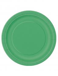 16 Pratos redondos verdes de cartão
