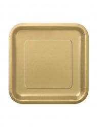 16 pratos em cartão dourado