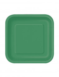 16 Pratos pequenos verdes cartão