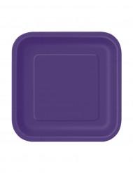 16 Pratos pequenos lilás quadrados de cartão