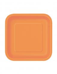 16 Pratos pequenos cor de laranja quadrados de cartão