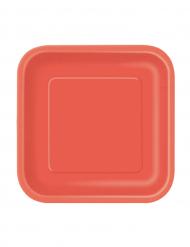 16 pratos vermelhos em cartão