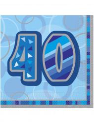 16 Guardanapos de papel 40 anos azuis 33 x33 cm