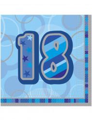 16 Guardanapos de papel 18 anos azuis 33 x 33 cm