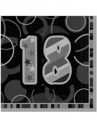 16 Guardanapos de papel 18 anos cinzentos 33 x 33 cm