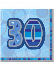 16 Guardanapos de papel azuis 30 anos