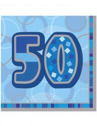 16 Guardanapos de papel 50 anos azuis