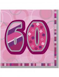 16 Guardanapos de papel 60 anos cor-de-rosa 33 x 33 cm
