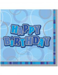 16 Guardanapos de papelHappy Birthday azuis 33 x 33 cm