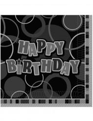 16 Guardanapos de papelHappy Birthday cinzentos 33 x 33 cm