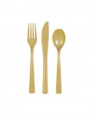 18 Talheres de plástico dourados
