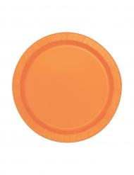 20 Pratos pequenos cor de laranja de cartão
