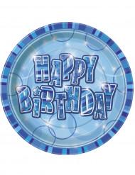 8 Pratos Happy Birthday azuis