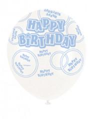 6 Balões azuis Happy Birthday