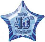 Balão estrela azul 40 anos