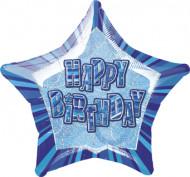 Balão azul estrela Happy Birthday