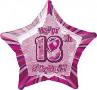 Balão estrela cor-de-rosa 18 anos