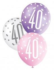 Balões cor-de-rosa 40 anos