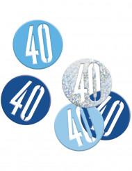 Confetis cinzentos/ azuis 40 anos