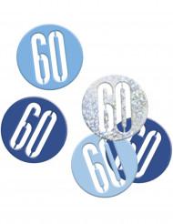 Confetis cinzentos/ azuis 60 anos