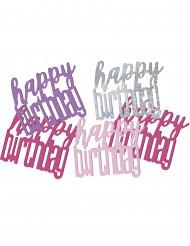 Confetis cor-de-rosa/cinzentos Happy Birthday
