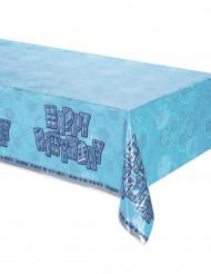 Toalha de plástido azul Happy Birthday
