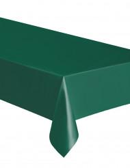 Toalha retangular de plástico verde.