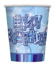 8 Copos de cartão Happy Birthday azuis