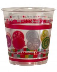 10 Copos de plástico transparente com bolas de Natal