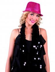 Chapéu com lantejoulas cor-de-rosa adulto