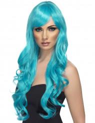 Peruca comprida ondulada azul mulher