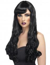 Peruca comprida ondulada preta mulher