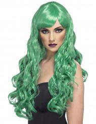 Peruca comprida ondulada verde mulher
