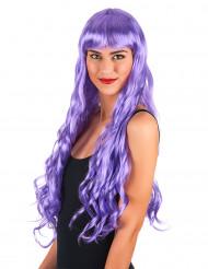 Peruca comprida ondulada violeta mulher