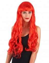 Peruca comprida ondas vermelhas mulher