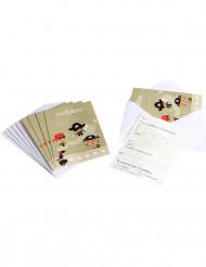 6 Convites com envelopes Pirata