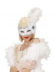 Máscara branca com pena adulto