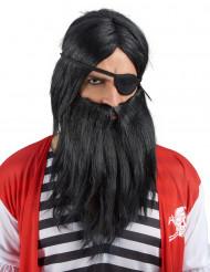 Peruca com barba preta para adulto
