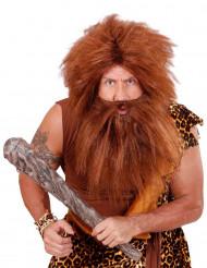 Peruca castanha com barba adulto