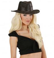 Chapéu cowboy preto adulto de palha