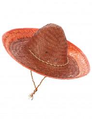 Sombrero mexicano cor de laranja adulto