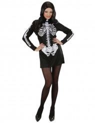 Disfarce vestido esqueleto mulher Haloween