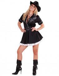Disfarce de cowgirl para mulher preto