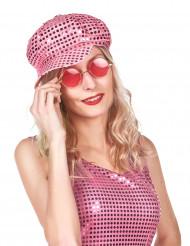 Boné disco cor-de-rosa