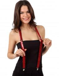 Suspensórios vermelhos com lantejoulas adulto
