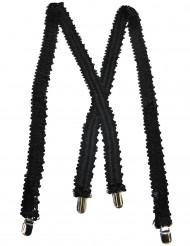 Suspensórios pretos com lantejoulas adulto