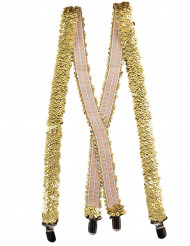 Suspensórios de lantejoulas douradas