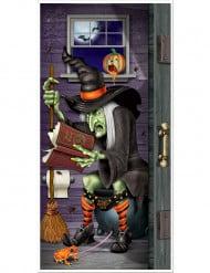 Decoração de porta bruxa na casa de banho Halloween