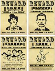 4 Cartazes de recompensa Bandido americano 48,3 cm