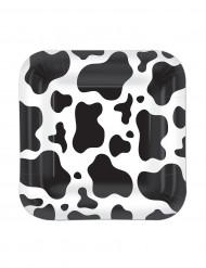 8 Pratos quadrados pelagem de vaca 18 cm